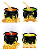 Cauldron collection — Stock Vector