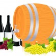 Stock Vector: Barrel with wine