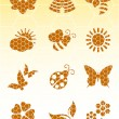 Bee icons on isolated background — Stock Vector