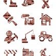 Brick construction icons — Stock Vector