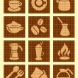 Coffee textured icons — Stock Vector