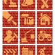 Building brick icons — Stock Vector