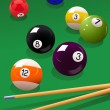 Stock Vector: Billiard_balls_and_cue