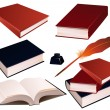 Books_on_isolated_background — Stockvector