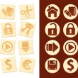 Icons on wooden background — Stock Vector #3748908