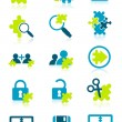 Icons with puzzle elements - Stock Vector
