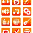 Red music and sound icons — Vector de stock