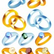 Ring_collection_with_precious_stones — Vector de stock #3749011