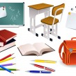 School objects — Vettoriali Stock