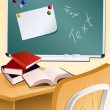 School wood desk and books — Stock Vector