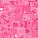 ピンクの背景が大好き — ストックベクタ