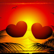 Two hearts in the sunset — Vector de stock