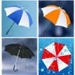 Stock Vector: Umbrellas under the rain