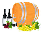 Barrel with wine — Stock Vector