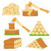Firewood chop icons — Stock Vector