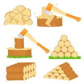 Iconos de cortar leña — Vector de stock