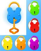 Colored locks — Stock Vector