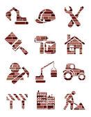 Brick construction icons — Stock Vector