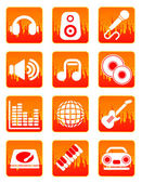 Red music and sound icons — Vecteur