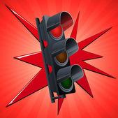 Red traffic light — Stock Vector