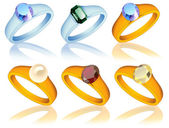 Ring_collection_with_jewel — Stock Vector