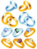 Ring_collection_with_precious_stones — Stock Vector