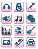 Music and sound icons — Stock Vector