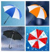 Umbrellas under the rain — Stock Vector