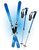 Ski and ski sticks — Stock Vector