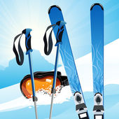 Ski on the slope — Stock Vector