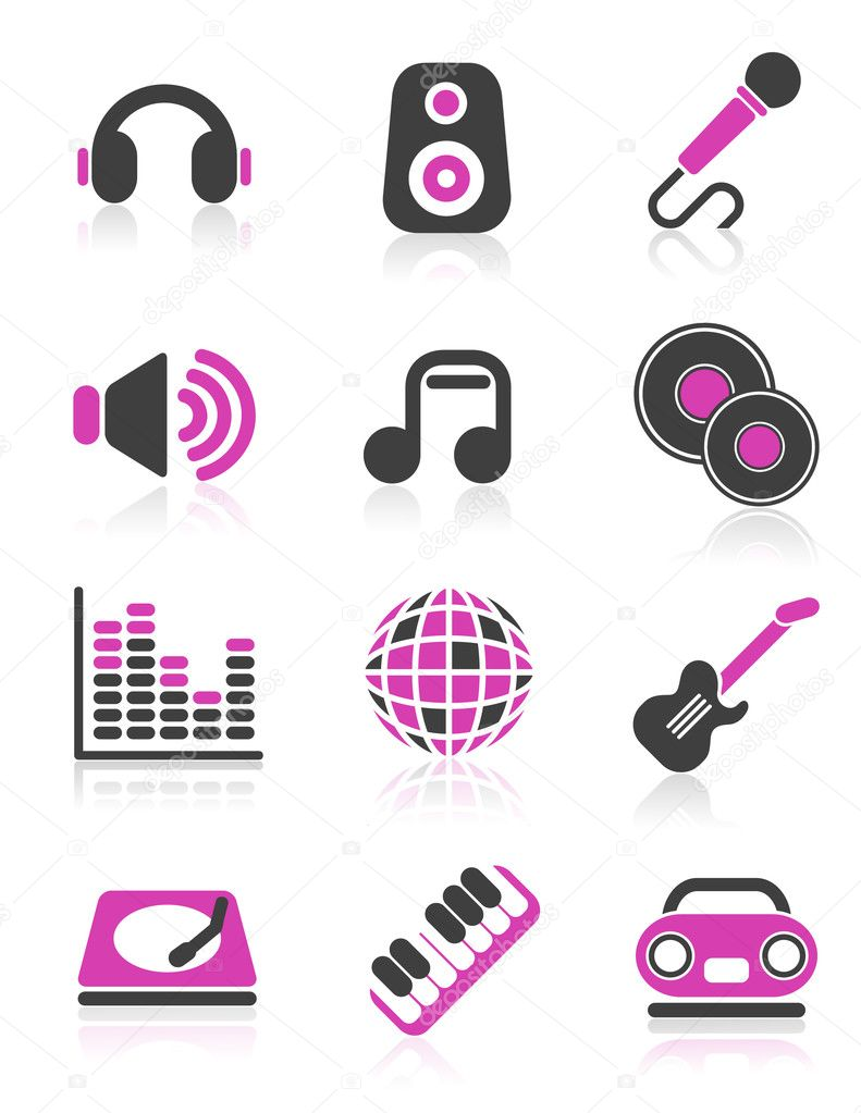 Disco icons, vector illustration, EPS and AI files included — Stock Vector #3748909