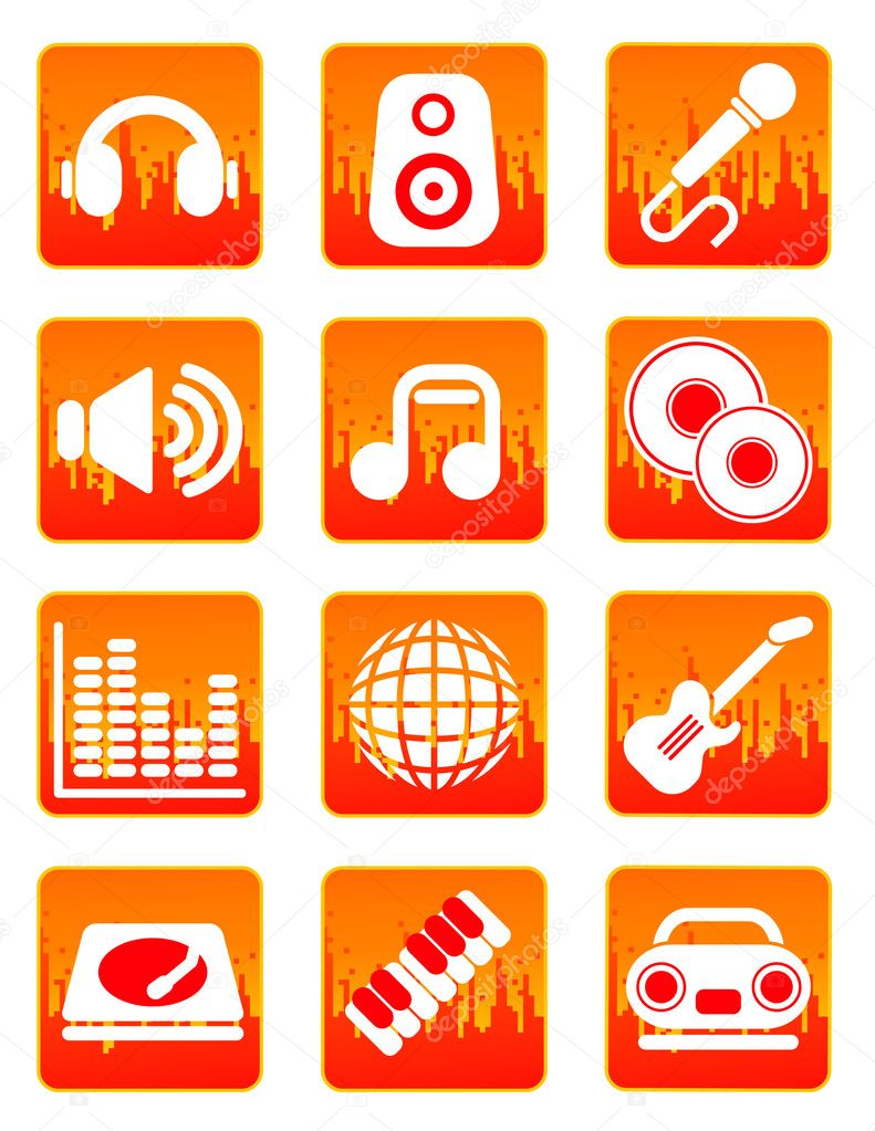 Red music and sound icons,  vector illustration, EPS and AI files included — Stock Vector #3748941