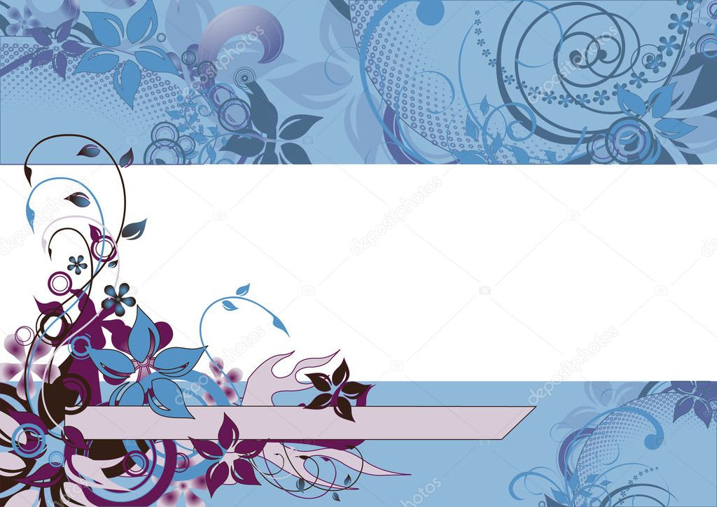 Blue transperrent floral frame, vector illustration, EPS and AI files included — Stock Vector #3749233