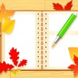 Stock Vector: Autumn notepad