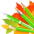 Stock Vector: Autumn pen and pencils