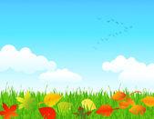 Autumn lawn — Stock Vector