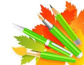 Autumn pen and pencils — Stock Vector