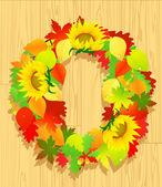Autumn wreath on wooden background — Stock Vector