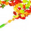 Stock Vector: Autumn paintbrush