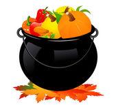 Autumn cauldron — Stock Vector