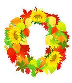 Autumn wreath, — Stock Vector