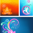 Yoga background set - Stock Vector
