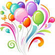 Colourful splash with balloons - Stockvectorbeeld