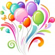 Colourful splash with balloons - Stok Vektör