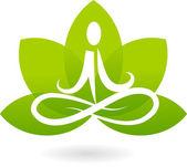 Joga lotosu ikona / logo — Wektor stockowy