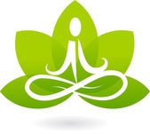 Yoga lotus icon / logo — Stok Vektör