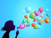 Blowing soap bubbles - 1 — Stock Vector