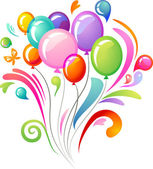 Colorida bienvenida con globos — Vector de stock