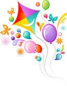 Kite en ballonnen — Stockvector
