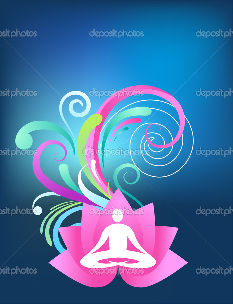 Blue yoga background with lotus and splash pattern  Stock Vector #2873511